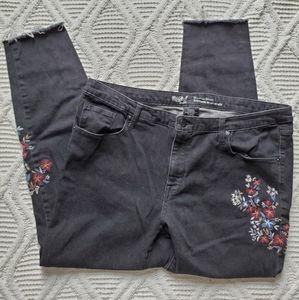 Mossimo Black Floral Raw Hem Mid Rise Skinny Jeans